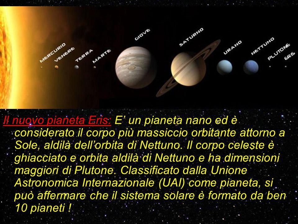 Il nuovo pianeta Eris: E' un pianeta nano ed è considerato il corpo più massiccio orbitante attorno a Sole, aldilà dell'orbita di Nettuno.