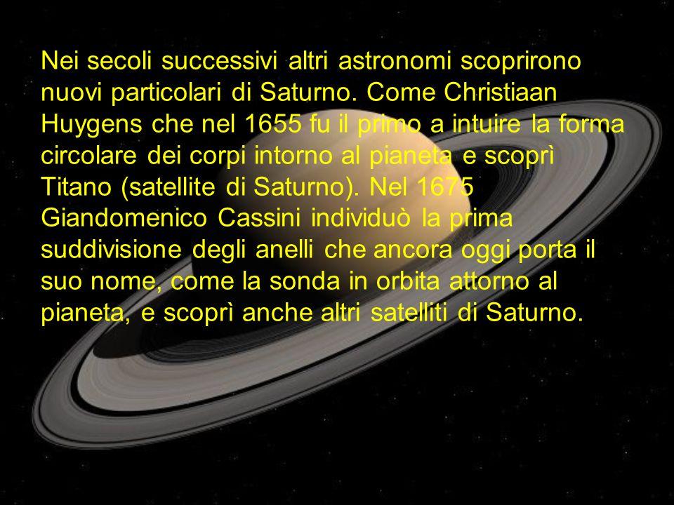 Nei secoli successivi altri astronomi scoprirono nuovi particolari di Saturno.