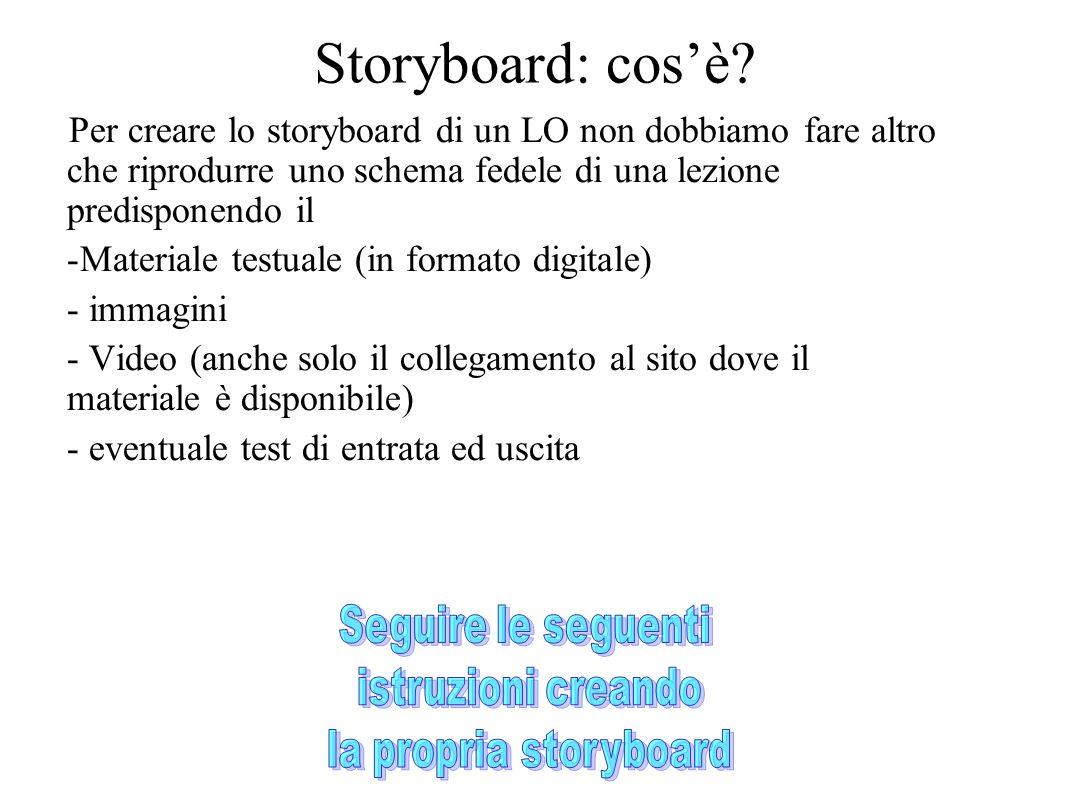 Storyboard: cos'è Per creare lo storyboard di un LO non dobbiamo fare altro che riprodurre uno schema fedele di una lezione predisponendo il.