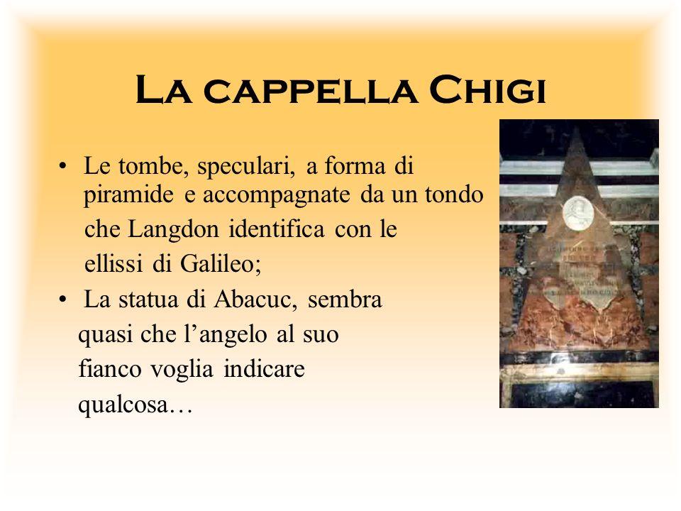 La cappella Chigi Le tombe, speculari, a forma di piramide e accompagnate da un tondo. che Langdon identifica con le.
