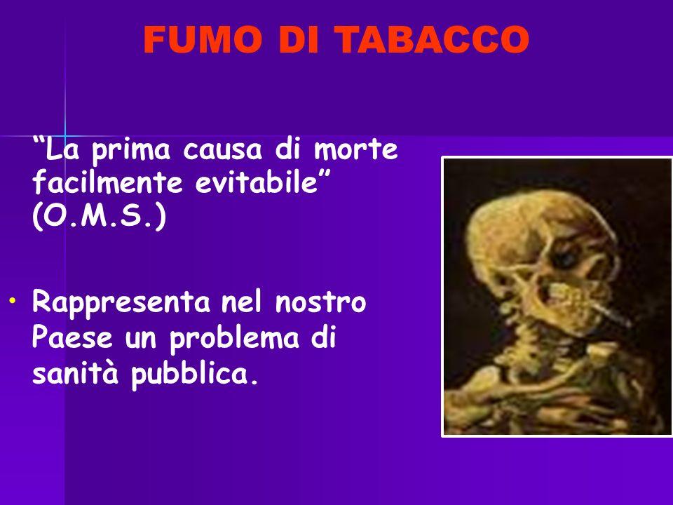 FUMO DI TABACCO La prima causa di morte facilmente evitabile (O.M.S.) Rappresenta nel nostro Paese un problema di sanità pubblica.