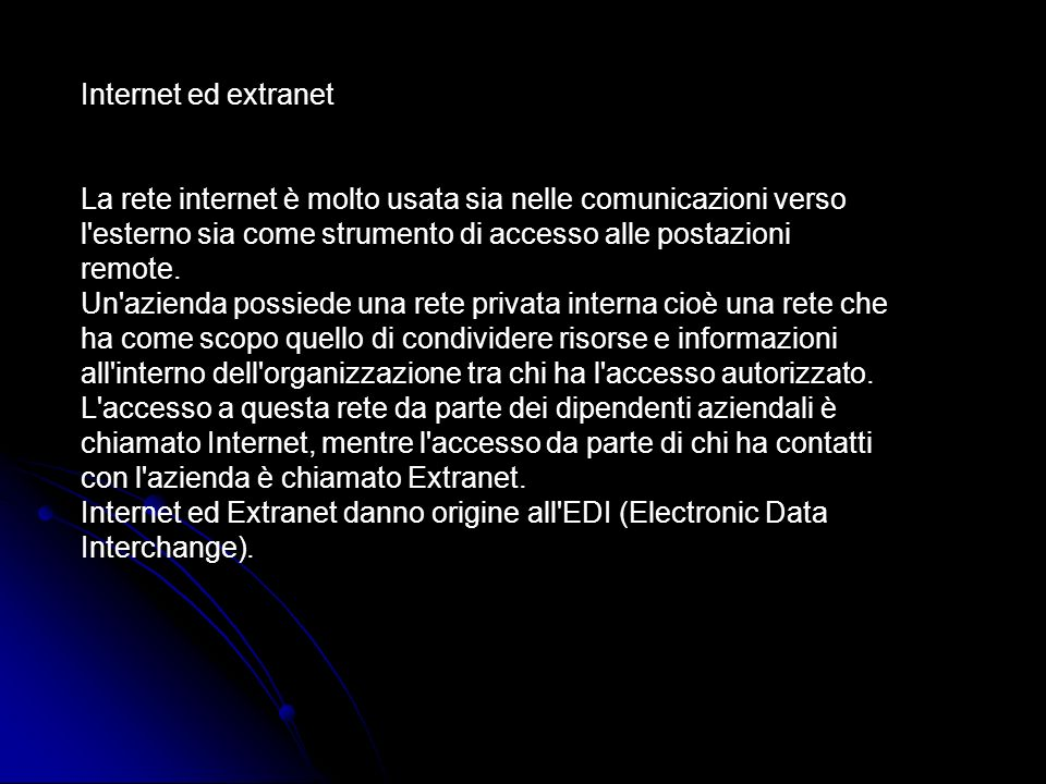 Internet ed extranet