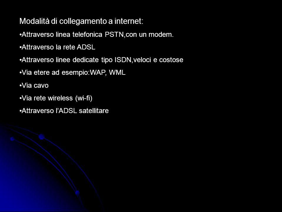 Modalità di collegamento a internet: