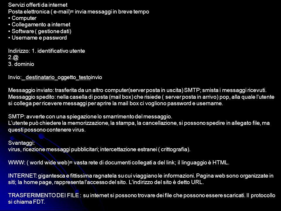Servizi offerti da internet Posta elettronica ( e-mail)= invia messaggi in breve tempo • Computer • Collegamento a internet • Software ( gestione dati) • Username e password Indirizzo: 1.