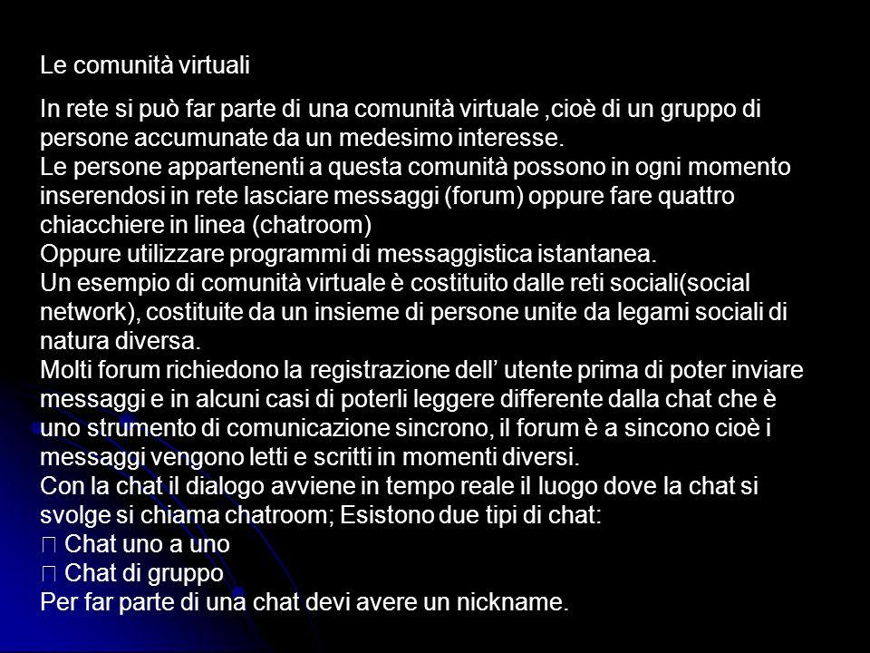 Le comunità virtuali
