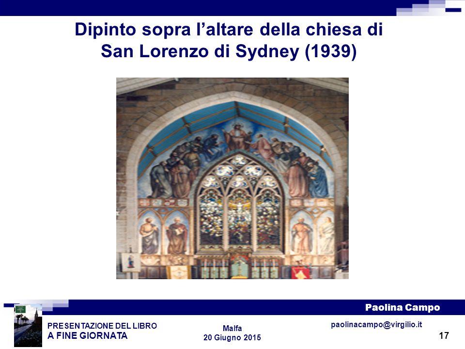 Dipinto sopra l'altare della chiesa di San Lorenzo di Sydney (1939)