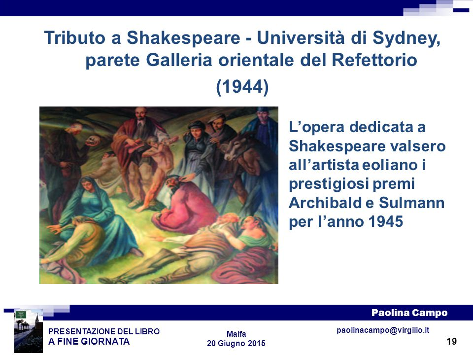 Tributo a Shakespeare - Università di Sydney, parete Galleria orientale del Refettorio (1944)