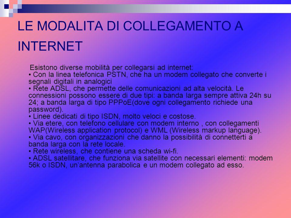 LE MODALITA DI COLLEGAMENTO A INTERNET