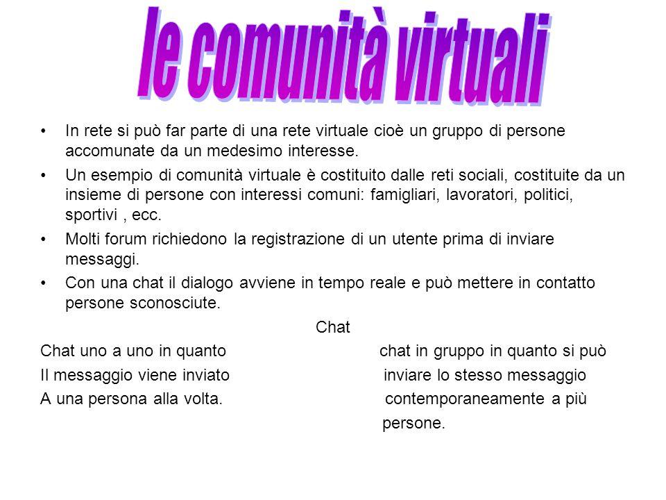 le comunità virtuali In rete si può far parte di una rete virtuale cioè un gruppo di persone accomunate da un medesimo interesse.