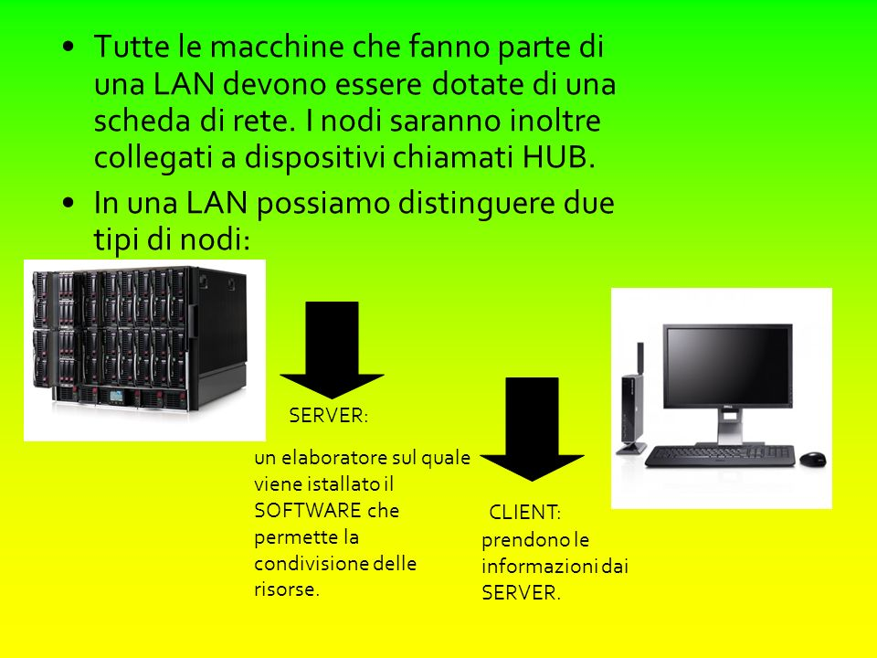 In una LAN possiamo distinguere due tipi di nodi: