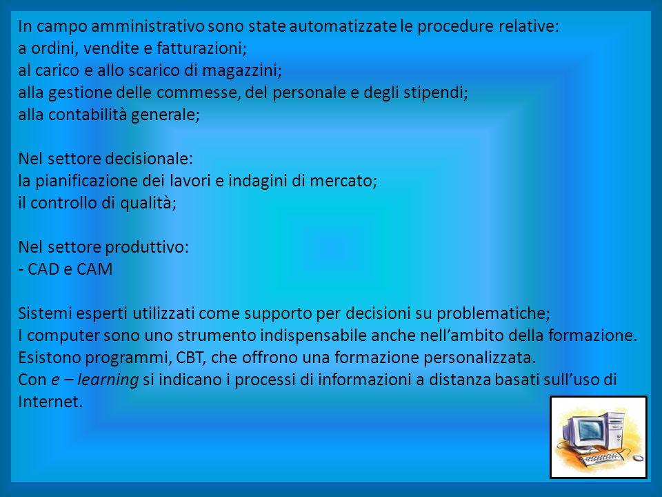 In campo amministrativo sono state automatizzate le procedure relative: