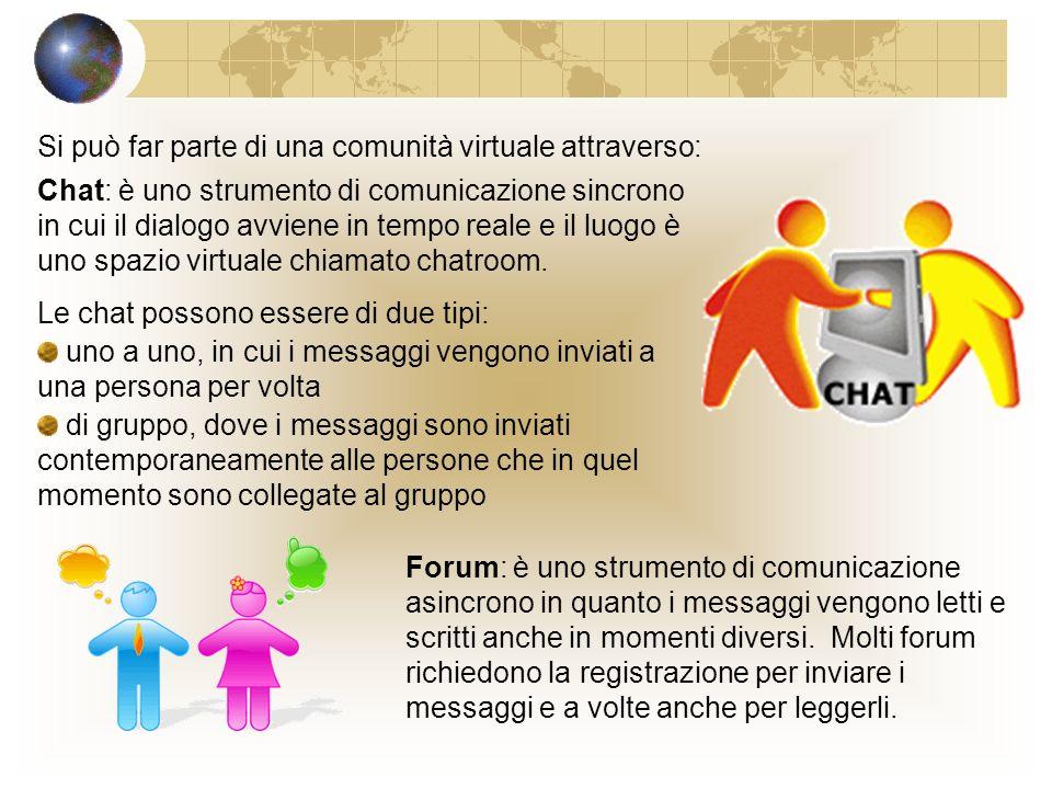 Si può far parte di una comunità virtuale attraverso: