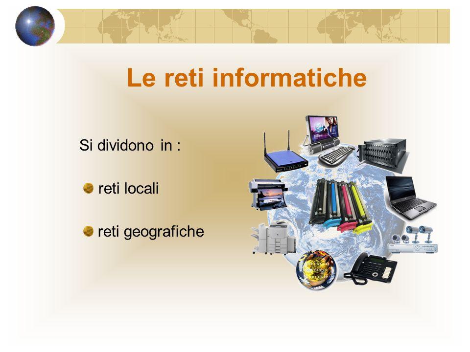 Le reti informatiche Si dividono in : reti locali reti geografiche