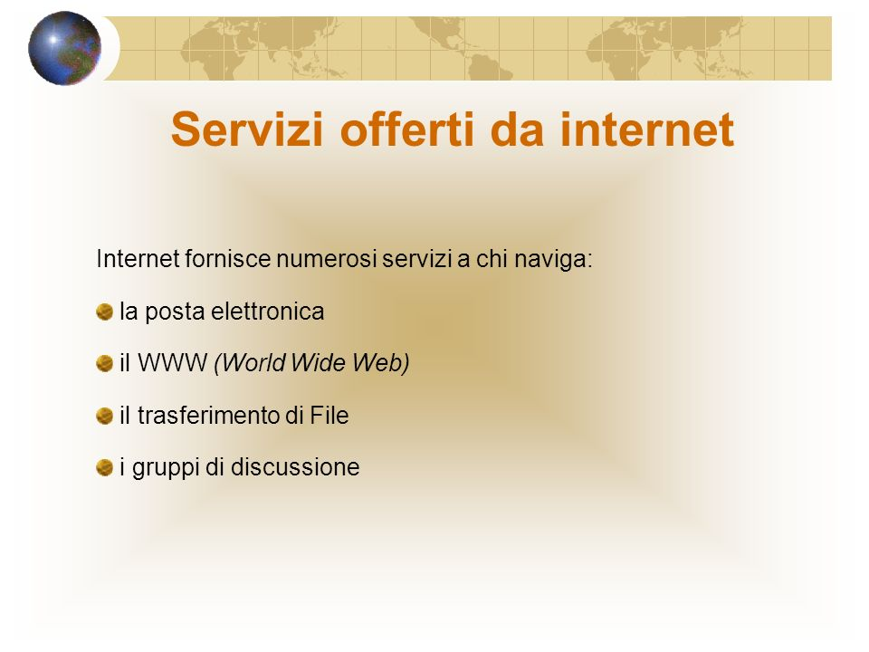 Servizi offerti da internet