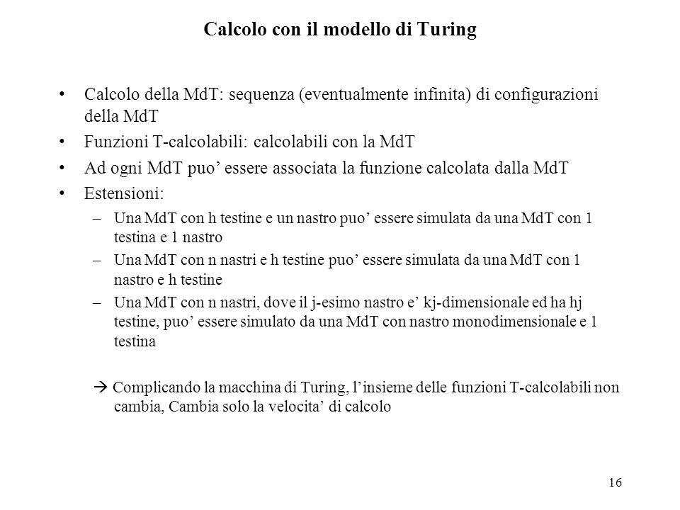 Calcolo con il modello di Turing