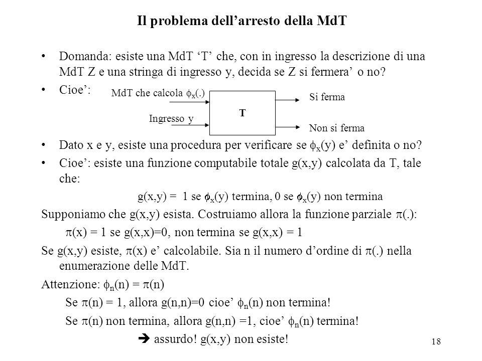 Il problema dell'arresto della MdT
