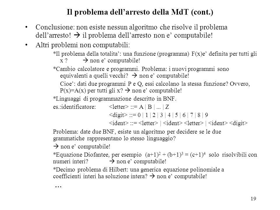 Il problema dell'arresto della MdT (cont.)