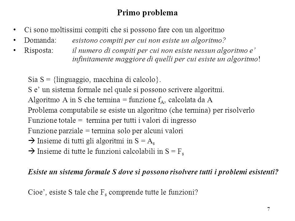 Primo problema Ci sono moltissimi compiti che si possono fare con un algoritmo. Domanda: esistono compiti per cui non esiste un algoritmo