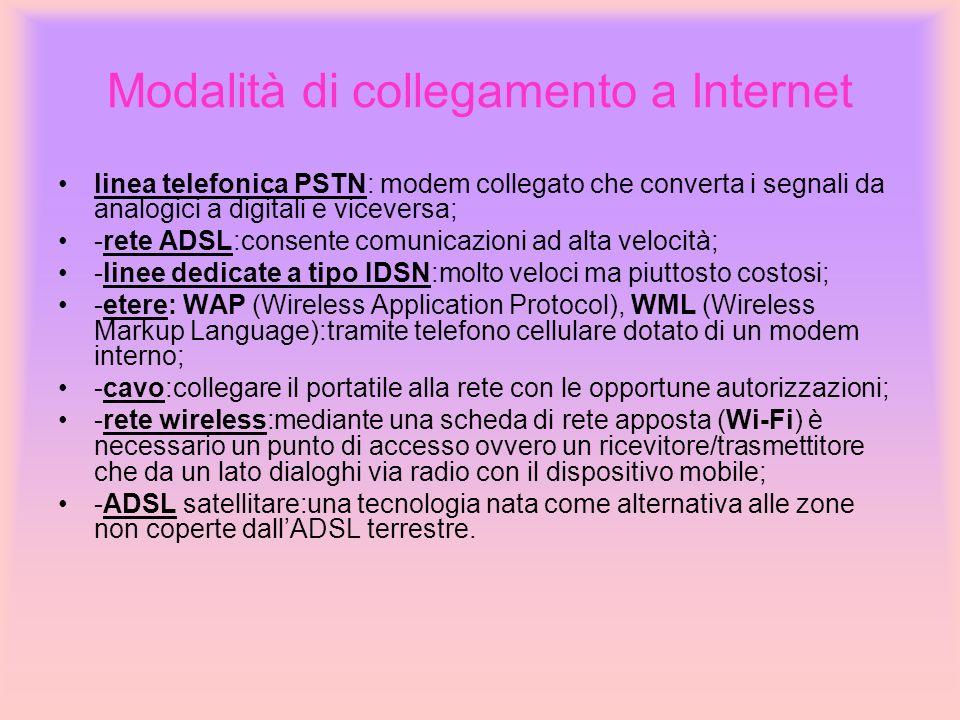 Modalità di collegamento a Internet