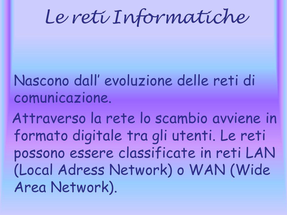 Le reti Informatiche Nascono dall' evoluzione delle reti di comunicazione.