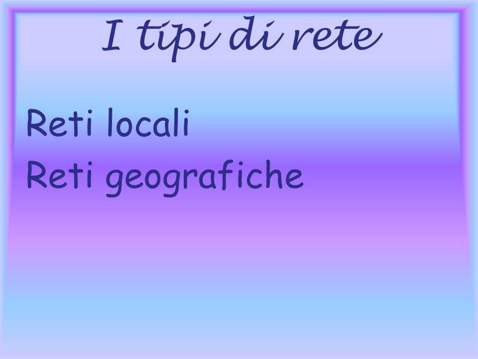 I tipi di rete Reti locali Reti geografiche