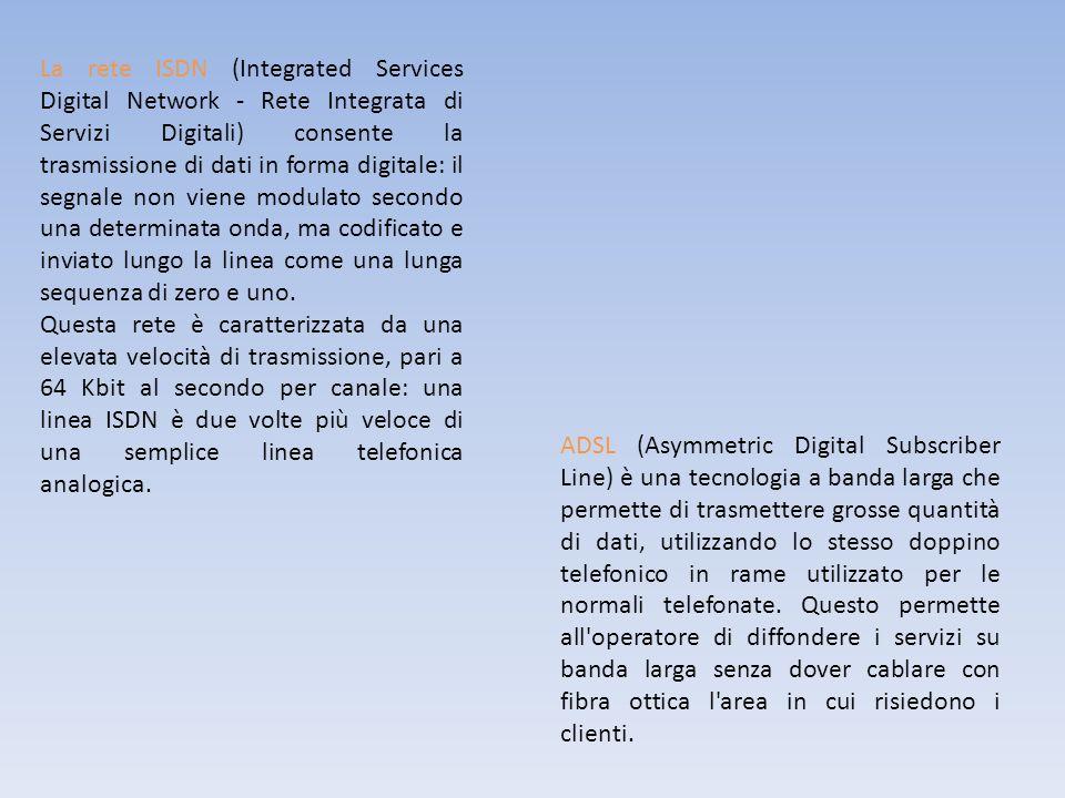 La rete ISDN (Integrated Services Digital Network - Rete Integrata di Servizi Digitali) consente la trasmissione di dati in forma digitale: il segnale non viene modulato secondo una determinata onda, ma codificato e inviato lungo la linea come una lunga sequenza di zero e uno.