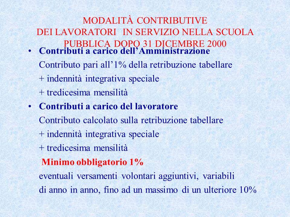 MODALITÀ CONTRIBUTIVE DEI LAVORATORI IN SERVIZIO NELLA SCUOLA PUBBLICA DOPO 31 DICEMBRE 2000