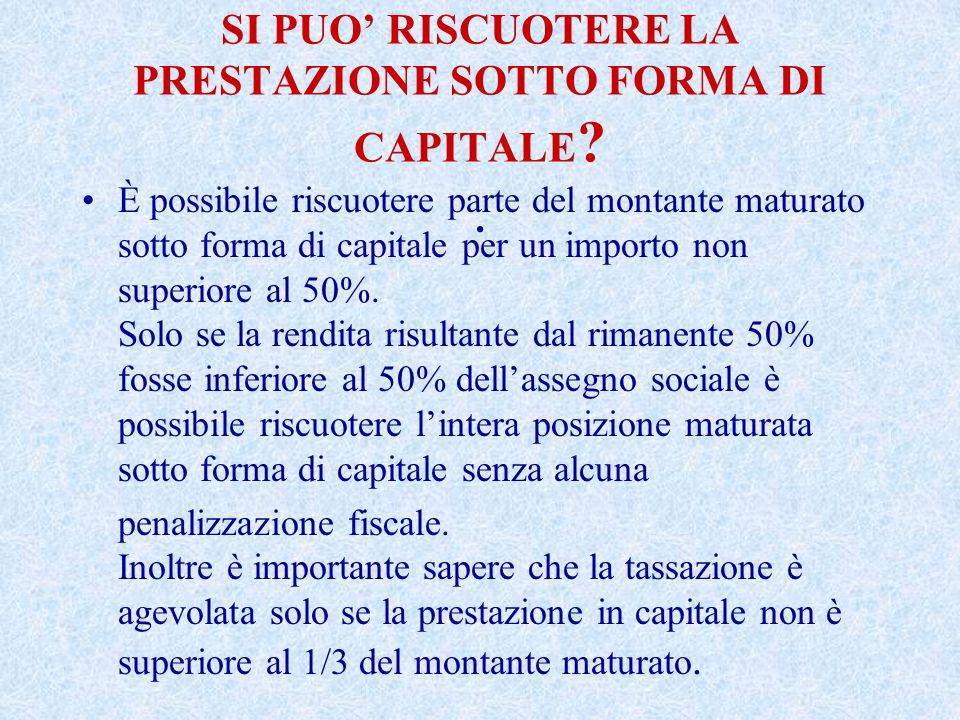 SI PUO' RISCUOTERE LA PRESTAZIONE SOTTO FORMA DI CAPITALE .