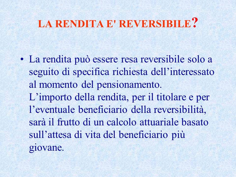 LA RENDITA E REVERSIBILE