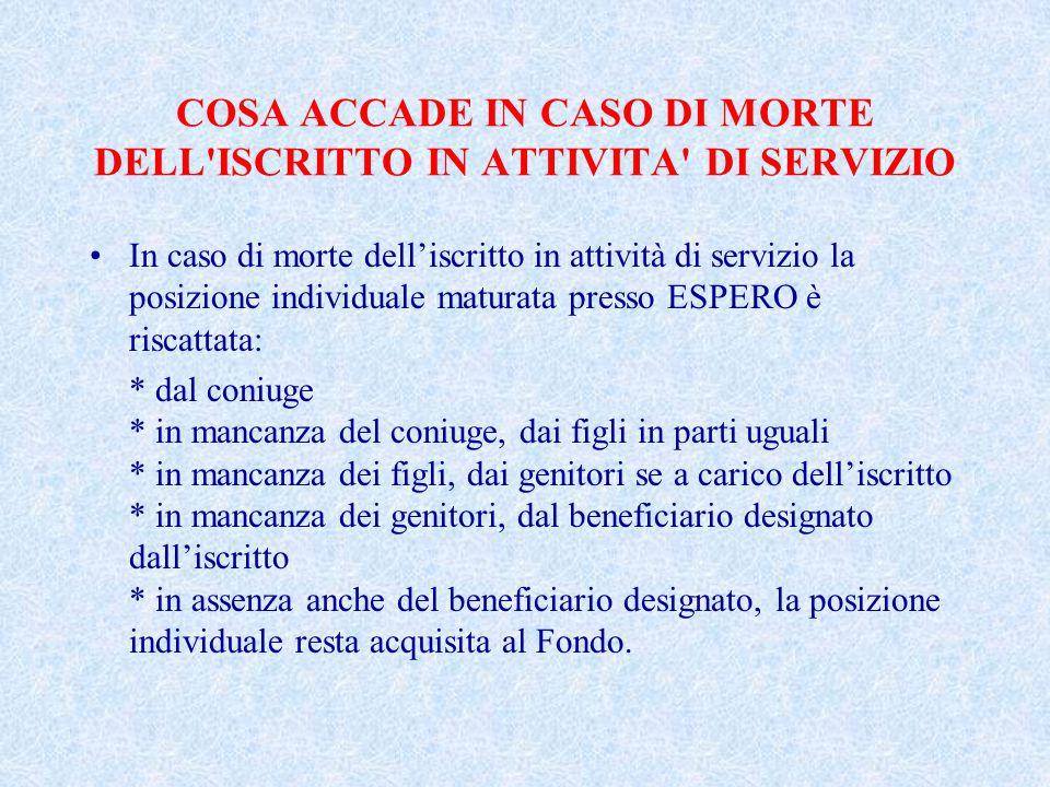 COSA ACCADE IN CASO DI MORTE DELL ISCRITTO IN ATTIVITA DI SERVIZIO