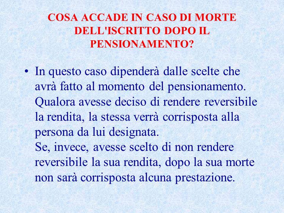 COSA ACCADE IN CASO DI MORTE DELL ISCRITTO DOPO IL PENSIONAMENTO