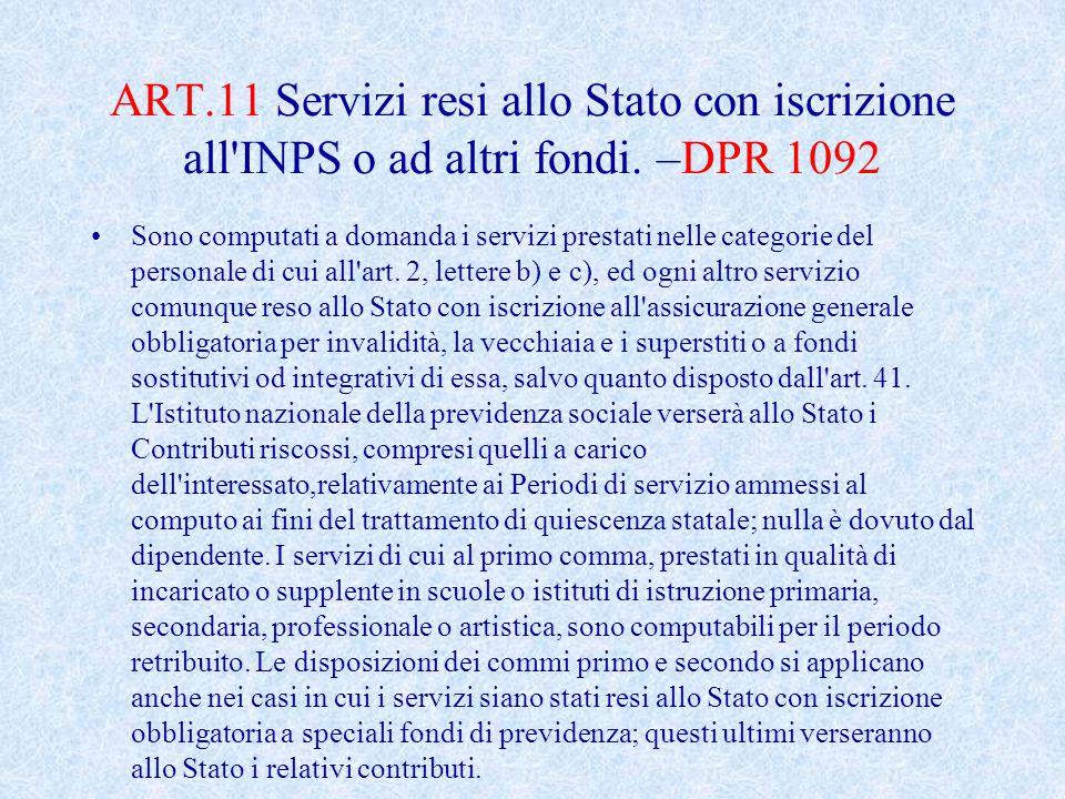 ART.11 Servizi resi allo Stato con iscrizione all INPS o ad altri fondi. –DPR 1092