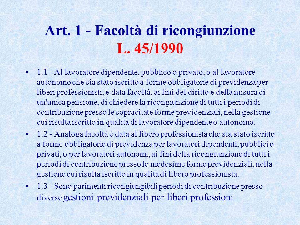 Art. 1 - Facoltà di ricongiunzione L. 45/1990