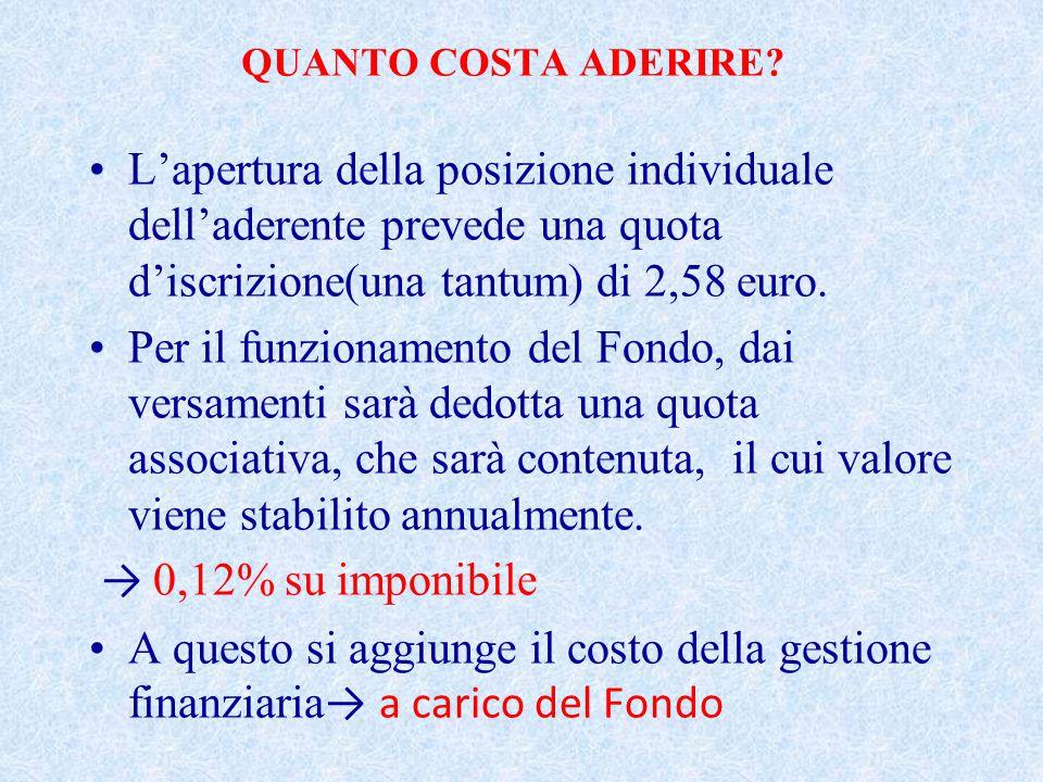 QUANTO COSTA ADERIRE L'apertura della posizione individuale dell'aderente prevede una quota d'iscrizione(una tantum) di 2,58 euro.