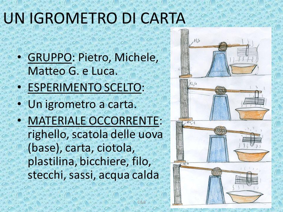 UN IGROMETRO DI CARTA GRUPPO: Pietro, Michele, Matteo G. e Luca.