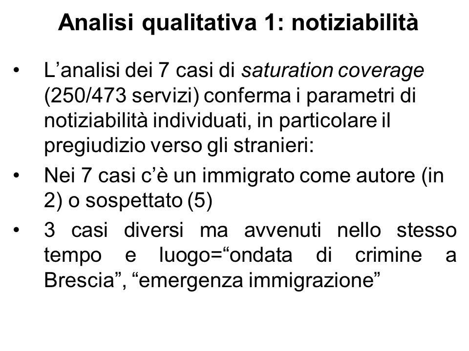 Analisi qualitativa 1: notiziabilità