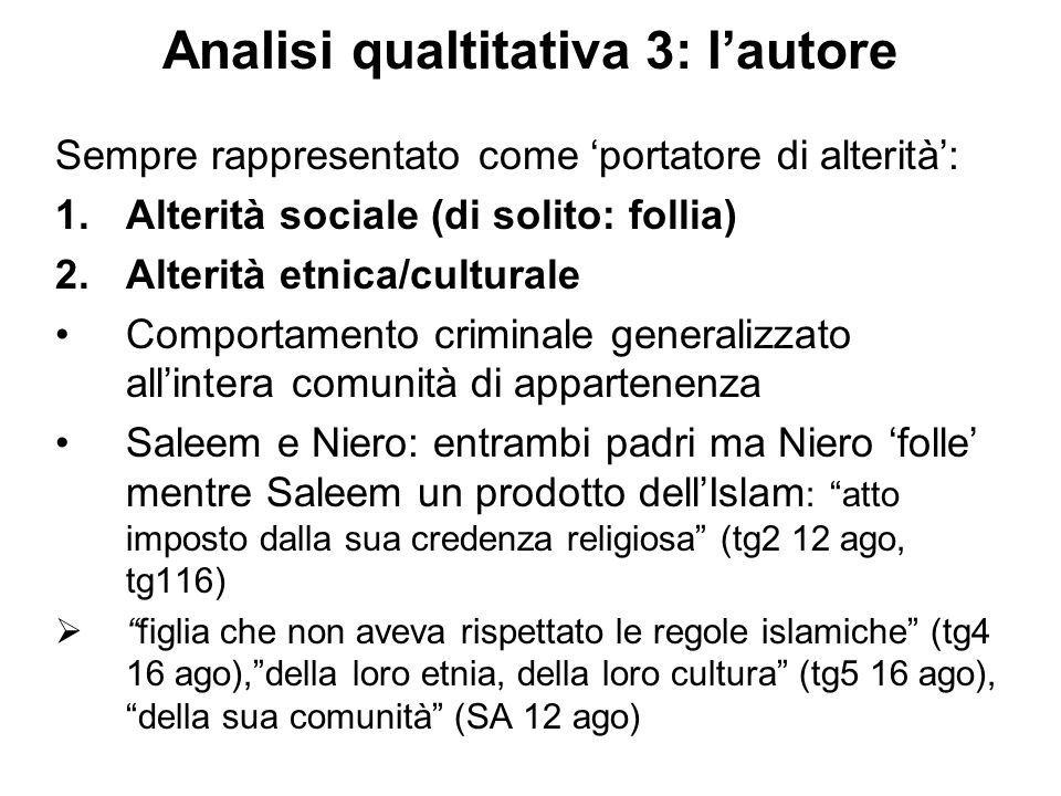 Analisi qualtitativa 3: l'autore