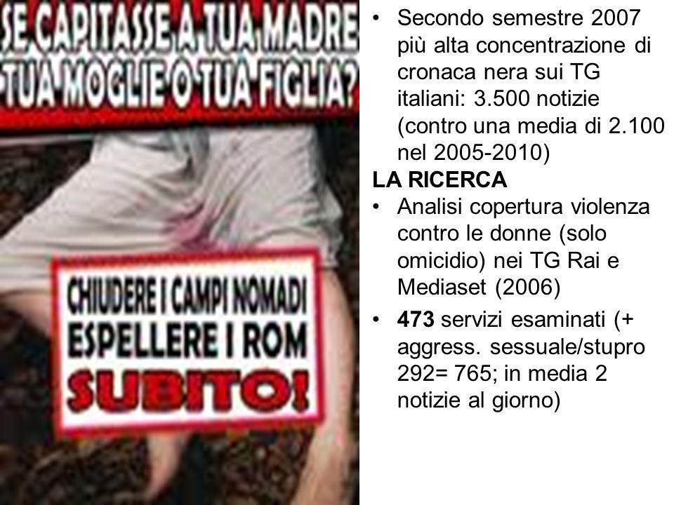 Secondo semestre 2007 più alta concentrazione di cronaca nera sui TG italiani: 3.500 notizie (contro una media di 2.100 nel 2005-2010)
