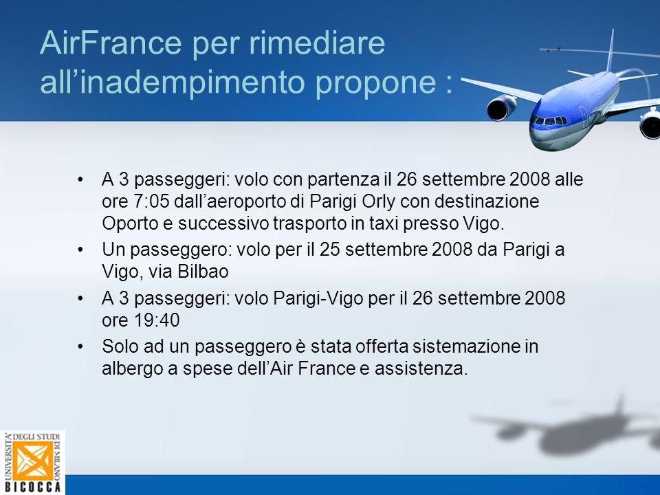 AirFrance per rimediare all'inadempimento propone :