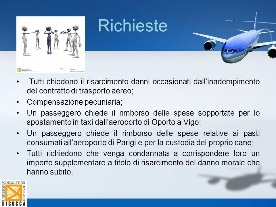 Richieste Tutti chiedono il risarcimento danni occasionati dall'inadempimento del contratto di trasporto aereo;