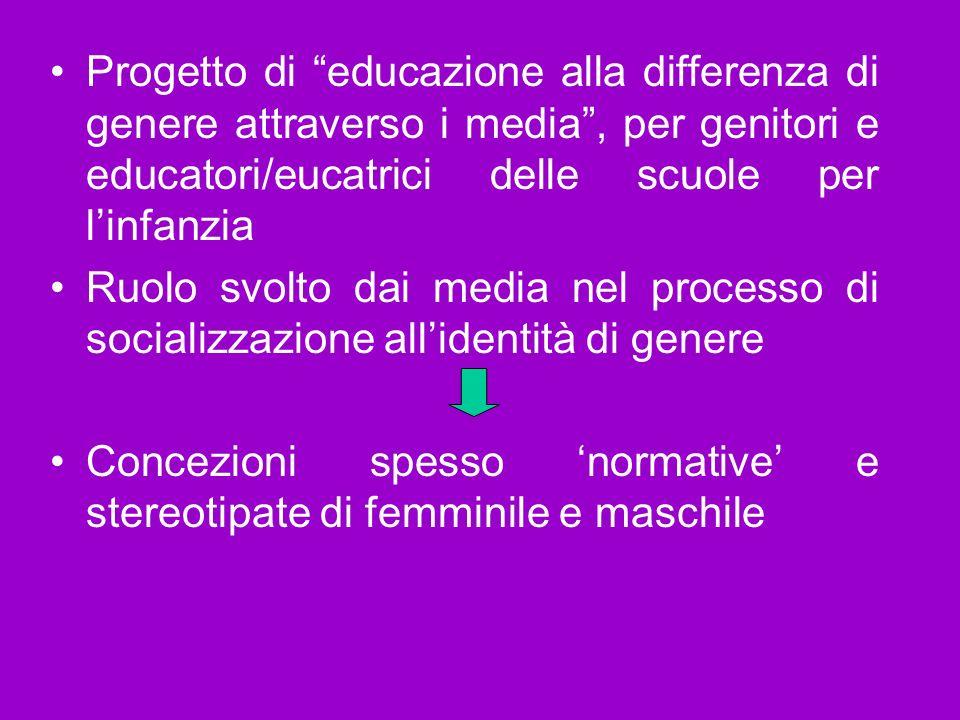 Progetto di educazione alla differenza di genere attraverso i media , per genitori e educatori/eucatrici delle scuole per l'infanzia