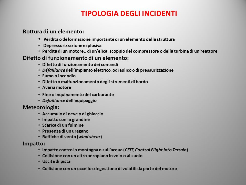 TIPOLOGIA DEGLI INCIDENTI
