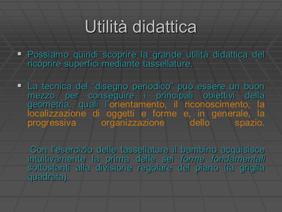 Utilità didattica Possiamo quindi scoprire la grande utilità didattica del ricoprire superfici mediante tassellature.