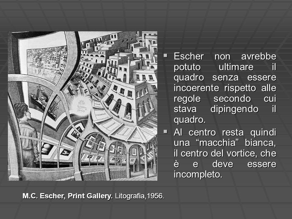 Escher non avrebbe potuto ultimare il quadro senza essere incoerente rispetto alle regole secondo cui stava dipingendo il quadro.