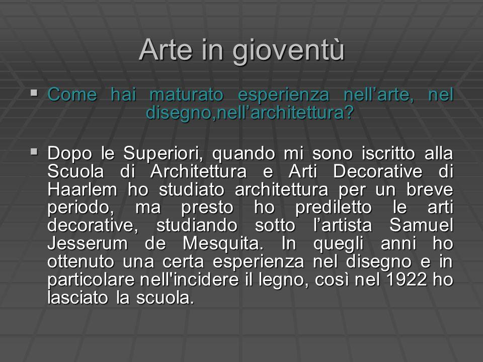 Arte in gioventù Come hai maturato esperienza nell'arte, nel disegno,nell'architettura