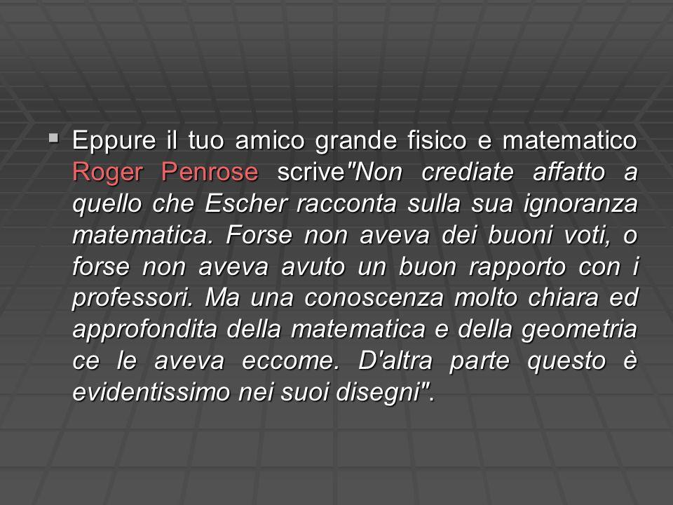 Eppure il tuo amico grande fisico e matematico Roger Penrose scrive Non crediate affatto a quello che Escher racconta sulla sua ignoranza matematica.