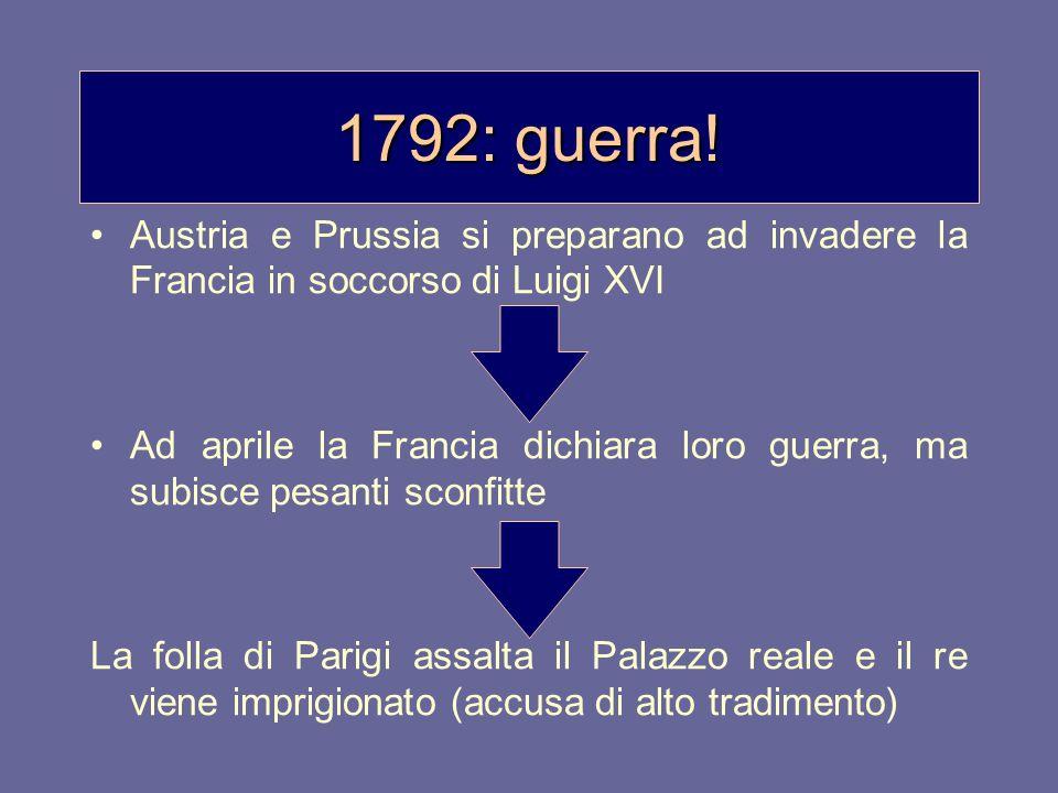 1792: guerra!Austria e Prussia si preparano ad invadere la Francia in soccorso di Luigi XVI.