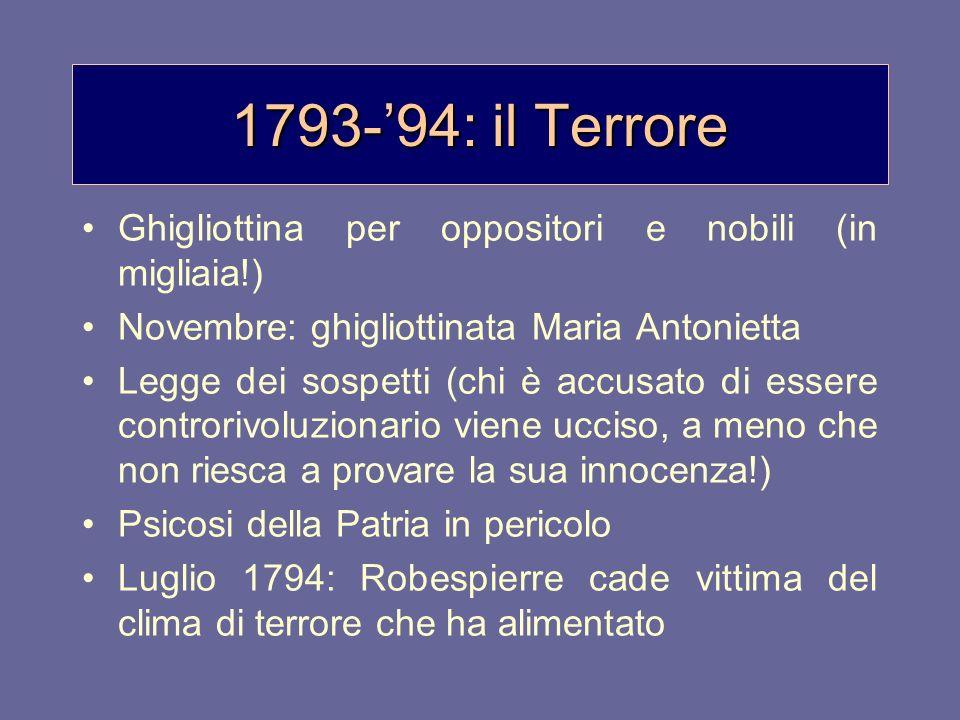 1793-'94: il Terrore Ghigliottina per oppositori e nobili (in migliaia!) Novembre: ghigliottinata Maria Antonietta.