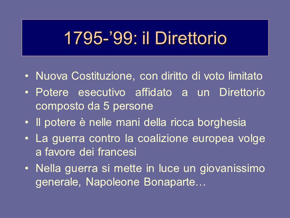 1795-'99: il DirettorioNuova Costituzione, con diritto di voto limitato. Potere esecutivo affidato a un Direttorio composto da 5 persone.
