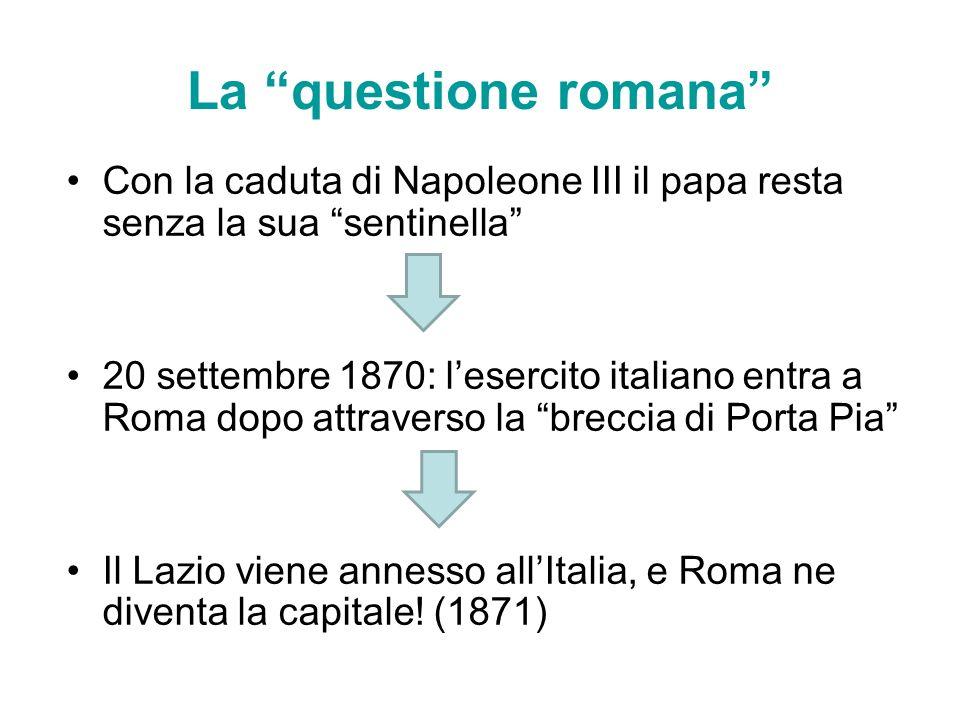 La questione romana Con la caduta di Napoleone III il papa resta senza la sua sentinella
